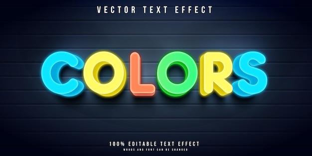 Effetto di testo modificabile a colori in stile neon