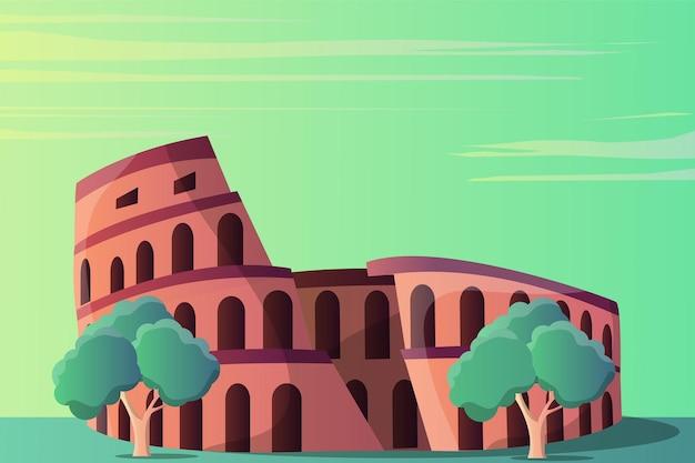 Paesaggio dell'illustrazione del colosseo per un'attrazione turistica