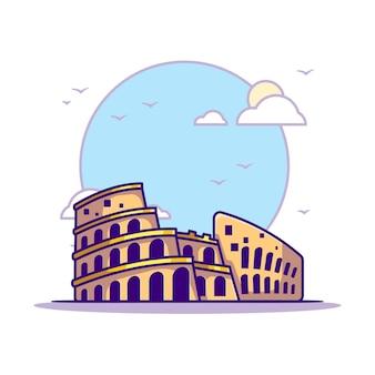 Illustrazioni del colosseo. punti di riferimento concetto bianco isolato. stile cartone animato piatto
