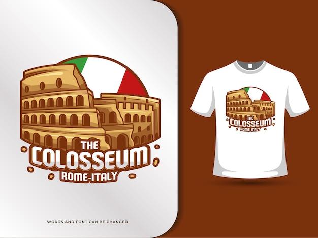 I punti di riferimento del colosseo e la bandiera dell'italia illustrazione con modello di t-shirt design