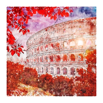 Illustrazione disegnata a mano di schizzo dell'acquerello di roma italia del colosseo