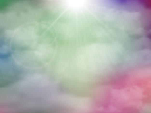 Colore sfondo pazzo con nuvole. nebbia viola verde blu rosa psichedelica astratta.