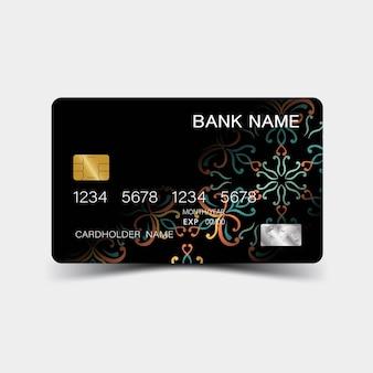 Disegno della carta di credito a colori e ispirazione dall'astratto su sfondo bianco stile plastica lucida