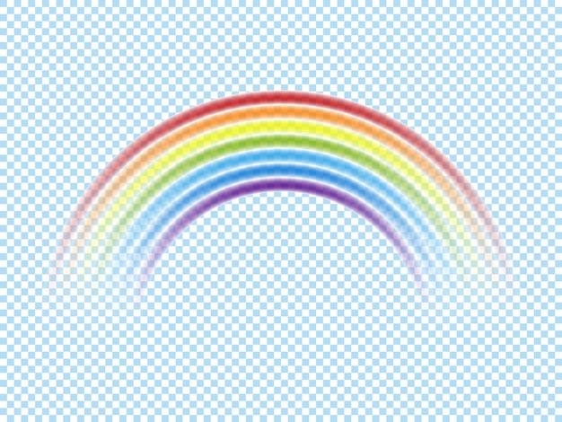 Arcobaleno di colore isolato su sfondo trasparente. illustrazione vettoriale.