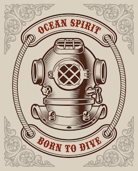 Poster vintage a colori sul tema marino su sfondo bianco.