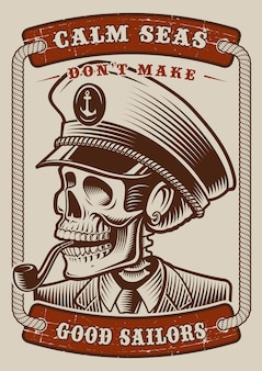 Poster vintage a colori del tema marino con teschio capitane su sfondo bianco