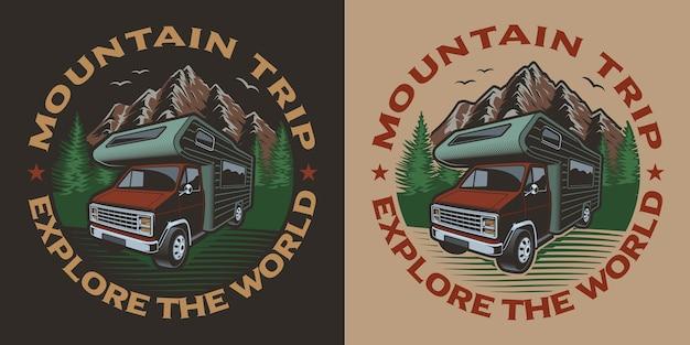 Illustrazione colorata con furgone da campeggio sul tema del viaggio. ideale per t-shirt.