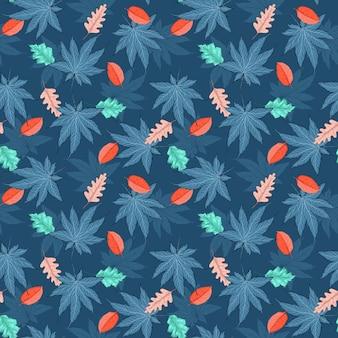 Illustrazione del modello senza cuciture delle foglie autunnali colorate nel vettore eps 10 con una tavolozza di colori alla moda