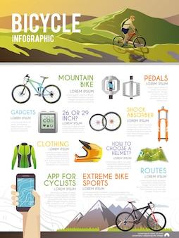 Vettore colorato bicicletta infografica.