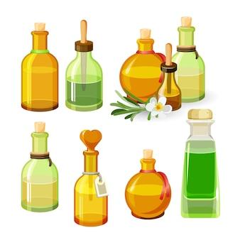 Bottiglie colorate con oli aromatici isolati su sfondo bianco. illustrazione di flaconi di vetro di forme rotonde e allungate con tappi, pipette lunghe ed etichette, fiore con foglie