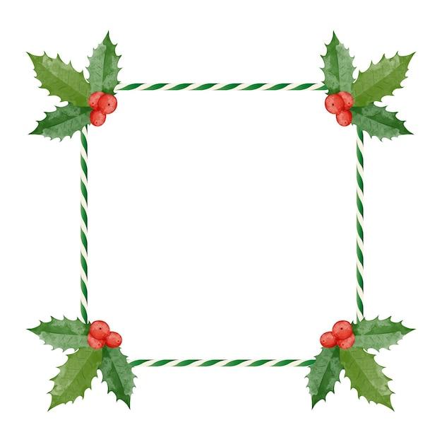 Cornice natalizia colorata con bastoncino di zucchero e bacche rosse