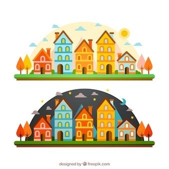 Città colorata in diversi momenti della giornata
