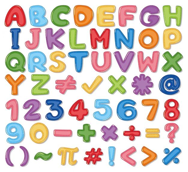 Alfabeto inglese colorato e numero