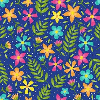 Modello senza cuciture floreale colorato di foglie e fiori