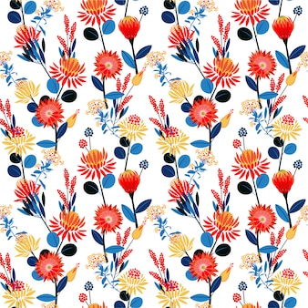 Modello senza cuciture di umore floreale di fioritura del fiore geometrico variopinto dei giardini Vettore Premium