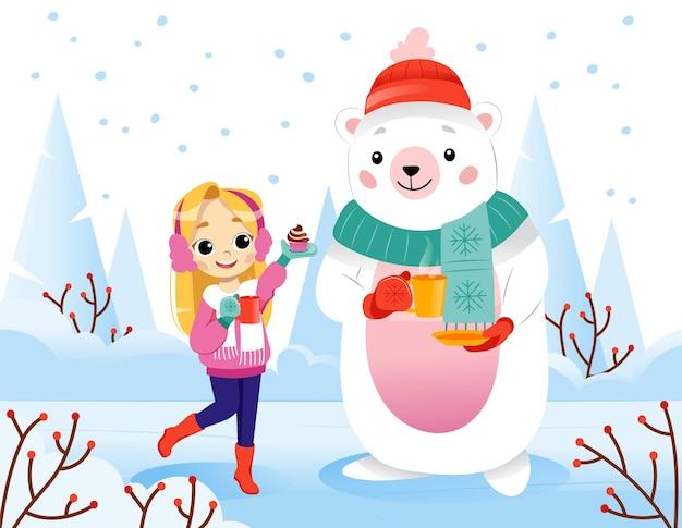 Composizione vettoriale gradiente colorato con caratteri su sfondo bianco. illustrazione piana del fumetto della studentessa felice sorridente e dell'orso che indossano vestiti stagionali accoglienti e che tengono le tazze della bevanda.