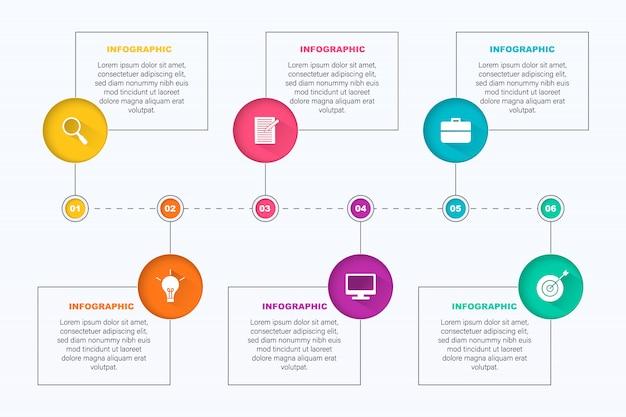 Infografica colorata con 6 caselle di testo