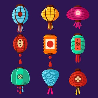 Insieme variopinto dell'illustrazione delle lanterne