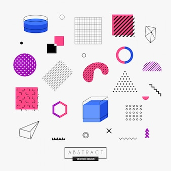 Elementi di design colorato di memphis