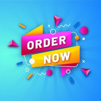 Modello di banner di ordine promozionale colorato ora