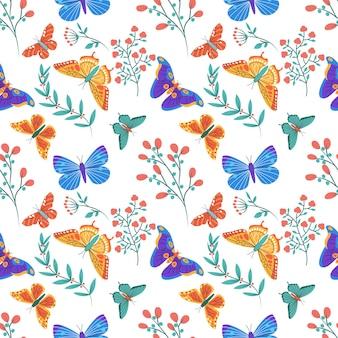Modello senza cuciture colorato con farfalle ed elementi floreali