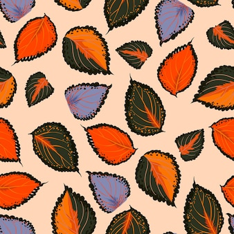 Modello senza cuciture colorato con foglie botaniche di tiraggio della mano