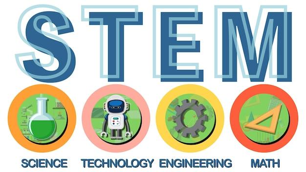 Icona di testo educativo stem colorato
