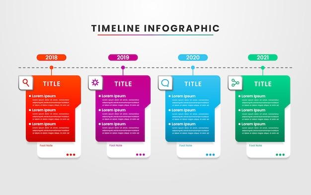 Informazioni sulla forma moderna infografica timeline colorata