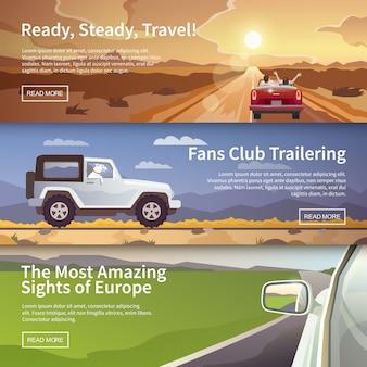 Banner piatto colorato vettoriale impostato per il tuo business, siti web ecc.