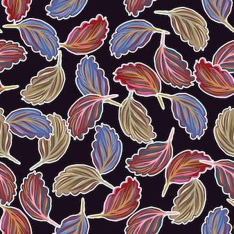 Coloutful botanical lascia la linea di schizzo di foglie senza cuciture del modello