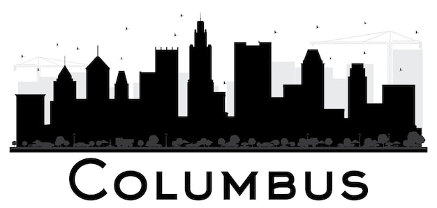 Siluetta in bianco e nero dell'orizzonte di columbus city. semplice concetto piatto per presentazione turistica, banner, cartellone o sito web. paesaggio urbano con punti di riferimento.