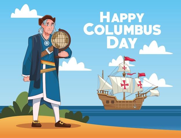 Scena di celebrazione del columbus day di christopher che solleva la mappa del mondo sulla spiaggia.