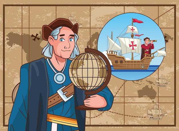 Scena di celebrazione del columbus day di christopher che solleva la mappa del mondo.