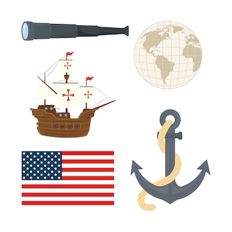 Ancoraggio della sfera del mondo del telescopio della nave di columbus e design della bandiera degli stati uniti di happy columbus day america e tema della scoperta