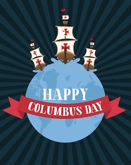 Columbus spedisce sul mondo con il design del nastro di happy columbus day america e discovery theme