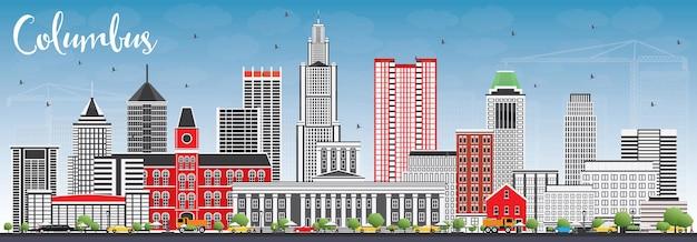 Columbus skyline con edifici grigi e cielo blu.