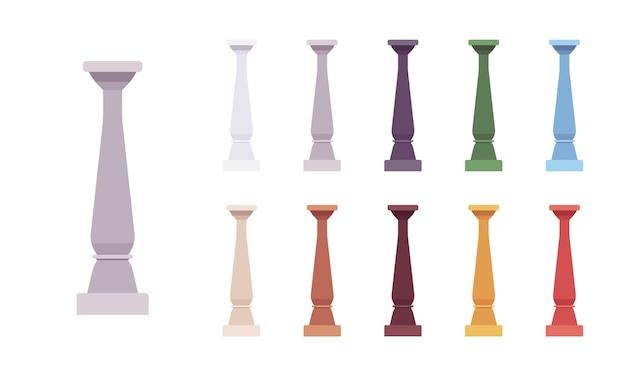 Colonna balaustra colorata set