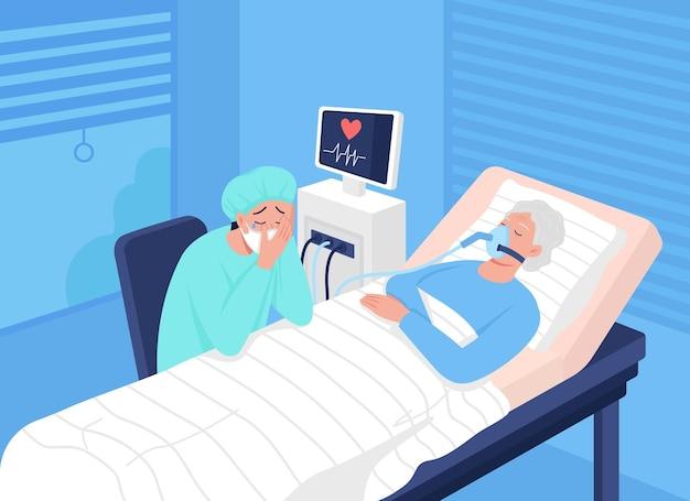 Paziente in coma nell'illustrazione di vettore di colore piatto dell'unità di terapia intensiva