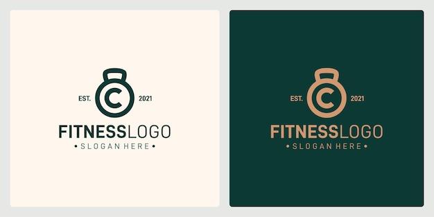Una combinazione di forme del logo del bilanciere e della lettera iniziale c. vettore premium.