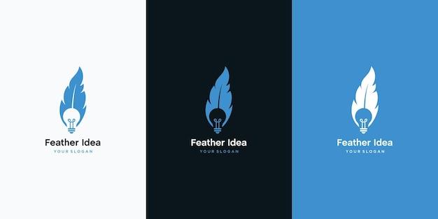 Combinazione di design del logo della lampadina e della piuma