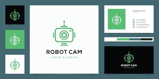 Una combinazione di design del logo della fotocamera e del robot