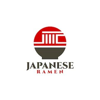 Combinazione dei cerchi di una bandiera giapponese e una ciotola di noodles buona per i ristoranti giapponesi