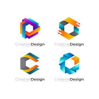 Modello di progettazione di logo di esagono di combinazione, loghi colorati 3d