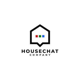 Combinazione di logo per la casa e il testo a bolle adatto a qualsiasi attività legata alla casa e alla chat
