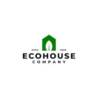 Combinazione di casa e foglia. logo della casa. buono per qualsiasi attività legata alla casa e alla natura.