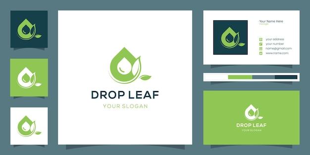 Combinazione di design moderno con foglie e gocce d'acqua con design di biglietti da visita