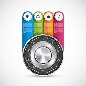 Combinazione infografica di concetto di design serratura sicura.