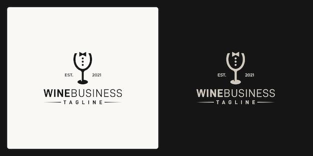 Combinazione della forma del bicchiere da vino e della forma dell'uomo d'affari. logo in stile retrò, vintage, classico.