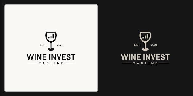 Combinazione della forma del bicchiere da vino e della forma del diagramma di investimento. logo in stile retrò, vintage, classico.