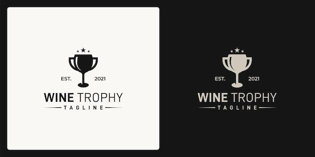 Combinazione della forma del bicchiere da vino e della forma del trofeo. logo in stile retrò, vintage, classico.